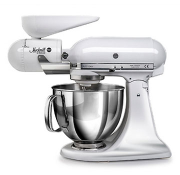 Mockmill KitchenAid White Metal and Ceramic Grain Mill Attachment Wolfgang Mock
