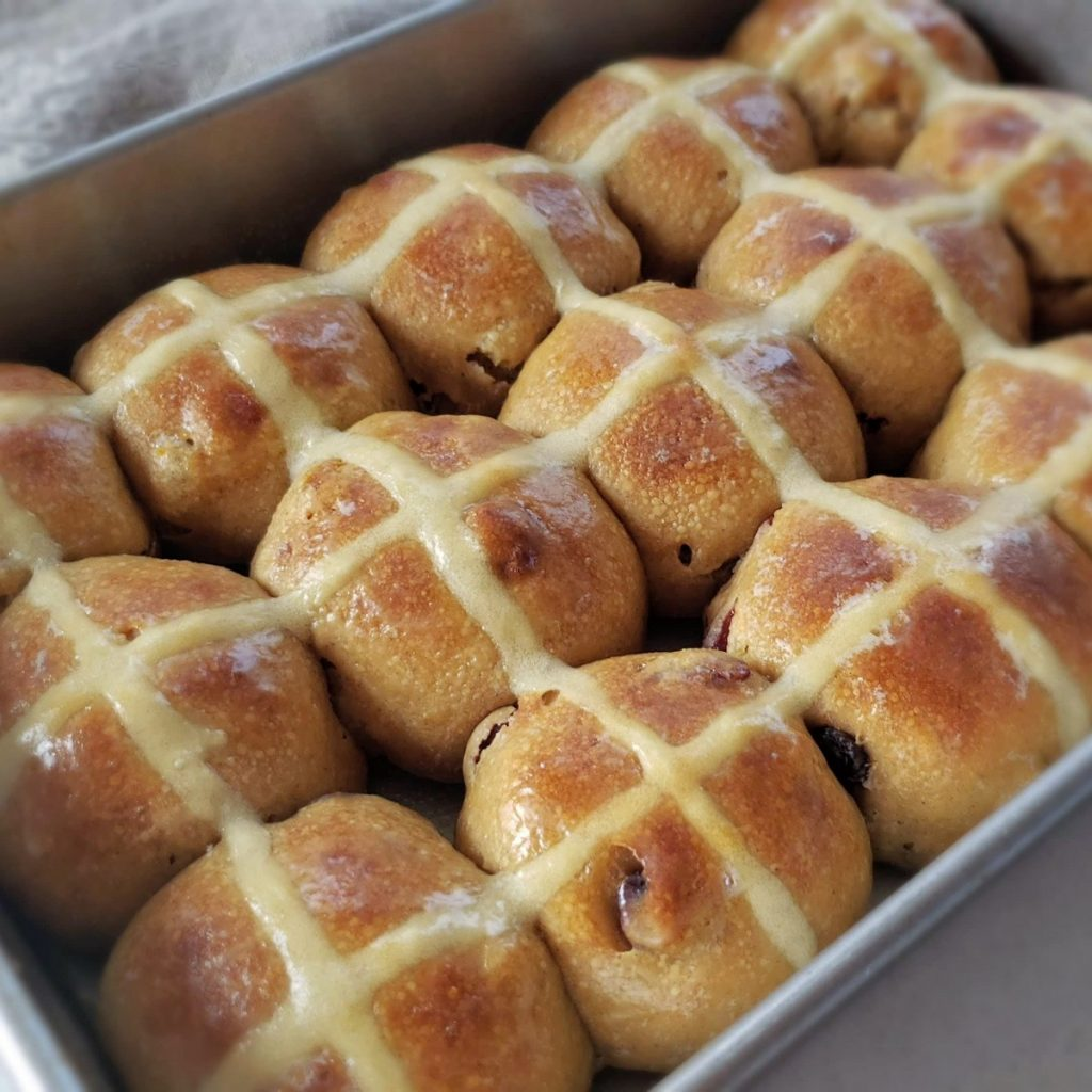 Sourdough Hot Cross Buns with Kamut Wheat