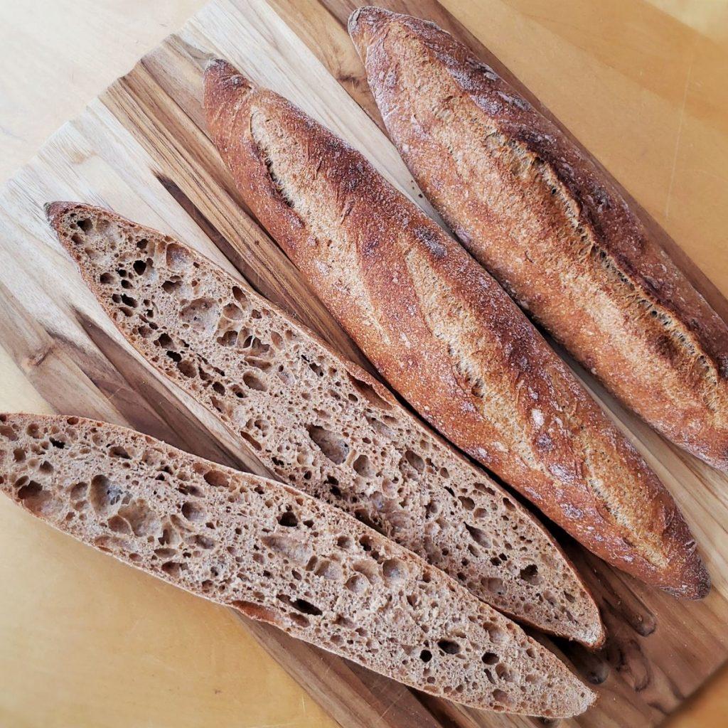 Whole Grain Sourdough Baguettes