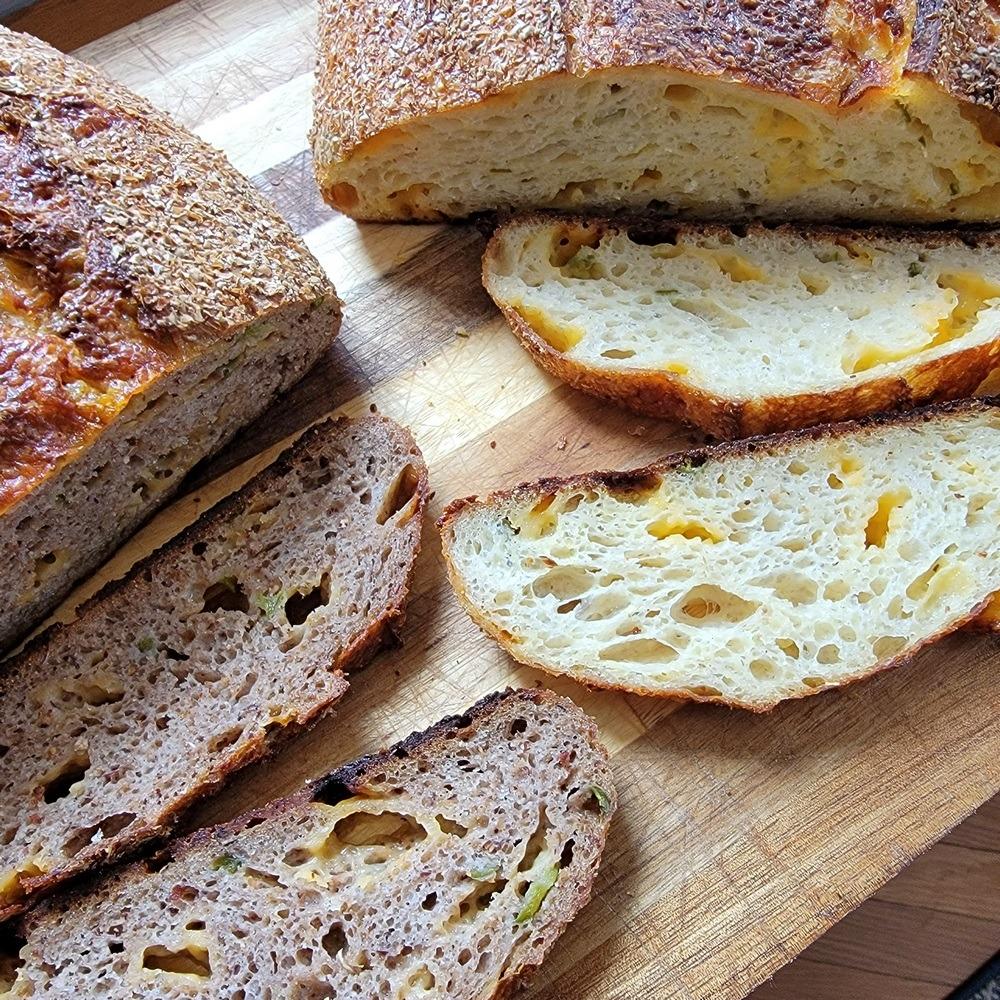 Corn Cheddar Jalapeño Sourdough Breads